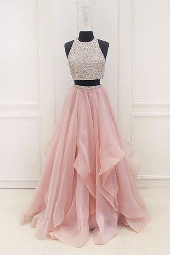 Dazzling Halter Organza Pink Two Piece Long Prom Dress Graduation Sweet 16 Dress,GDC1216