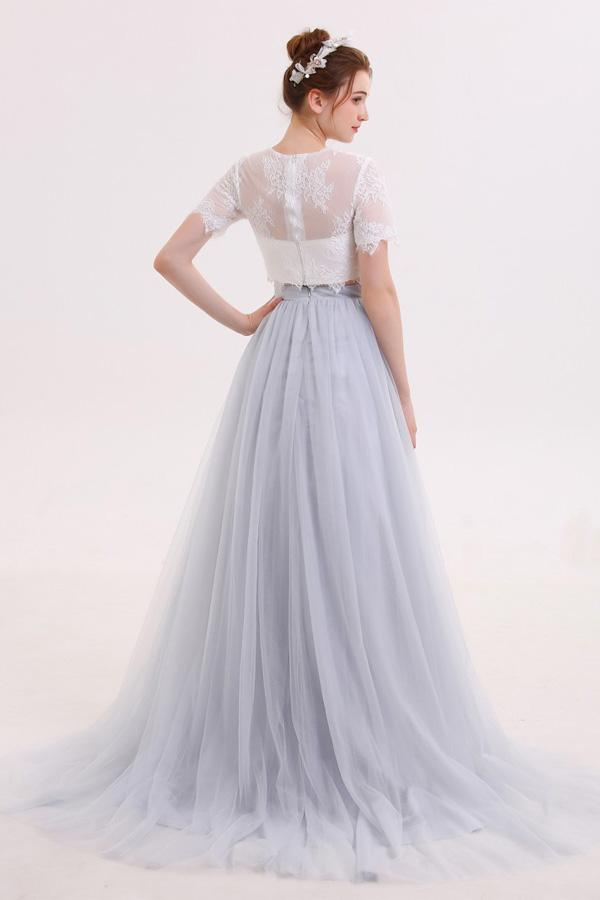 c40b9f18d8fc15 Two Piece Long Tulle Skirt Wedding Dress with Lace Crop Top,GDC1215 – Dolly  Gown