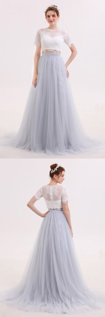 Long Tulle Skirt Two Piece Wedding Dress With Lace Crop Top Gdc1215