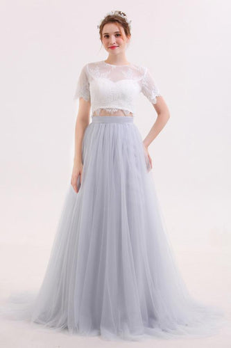 Two Piece Long Tulle Skirt Wedding Dress with Lace Crop Top,GDC1215