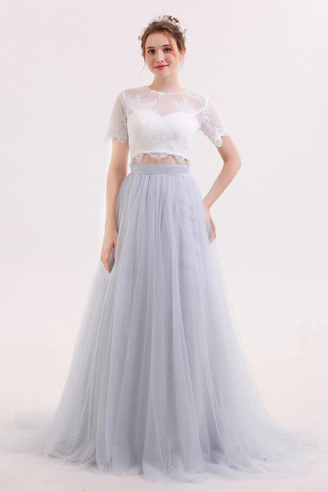 Long Tulle Skirt Two Piece Wedding Dress with Lace Crop Top,GDC1215-Dolly Gown