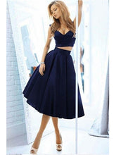 Two Piece Navy Blue Homecoming Dress Freshman Homecoming Dress,GDC1083