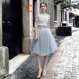 Two Pieces Vintage Inspired Homecoming Dress with Tulle Skirt,Unique Party Occasional Dress,2017120