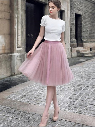 Two Piece Vintage Inspired Homecoming Dress with Tulle Skirt Unique Party Occasional Dress,2017120