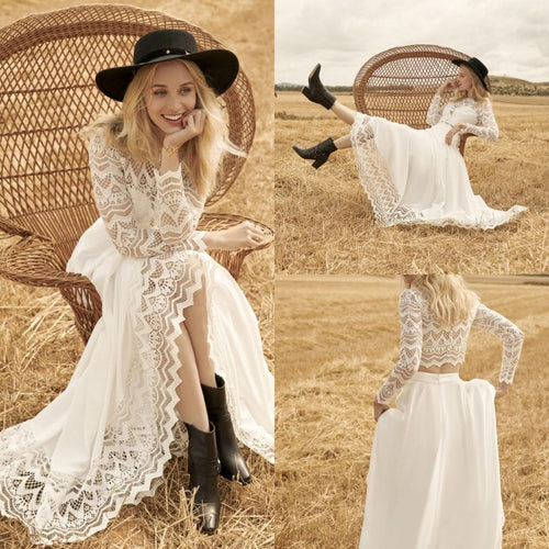 Unique Country Style Flowy Two Piece Lace Wedding Dress Boho Bridal Separates 20082671