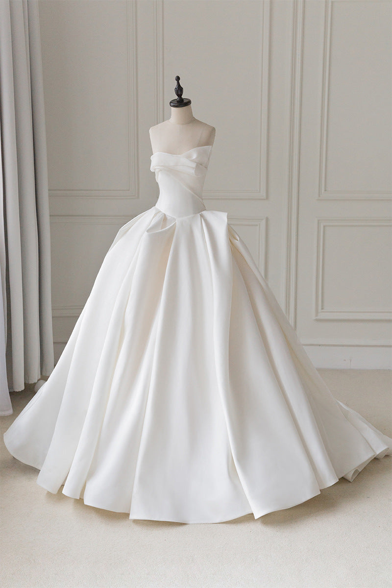 Unique Duchess Satin Strapless Ball Gown Wedding Dress Ball Gowns for Wedding #21011204