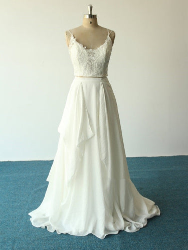 Unique Flowy Chiffon Spaghetti Straps Two Piece Crop Top Bridal Wedding Dress,20082227