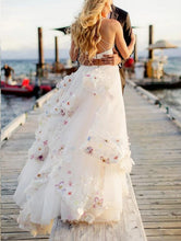 Unique Two Piece Spaghetti Straps Long Wedding Dress with Colored Handmade Flowers Skirt,20082206