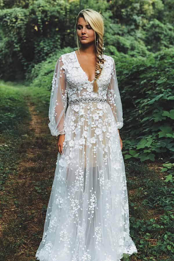 Unique Boho See Through A-line Rustic Country Wedding Dress, Vestido de novia ,GDC1242