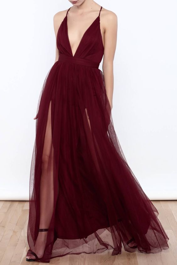 Unique Plunge V neck Burgundy Chiffon Flowy Prom Dress with Side Slits,GDC1112