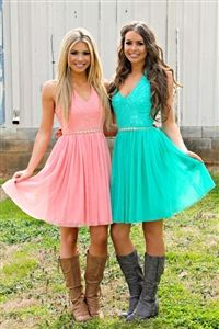 V-neck Chiffon Lace Short Bridesmaid Dress with Cowboy Boots,Rockabilly Bridesmaid Dresses,20081811