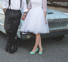 Vintage Country Style Short Polka Dot Wedding Dress with Sleeves,20111552