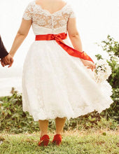 Vintage Tea Length Lace Princess 1950s Retro Style Country Wedding Dress,20103150