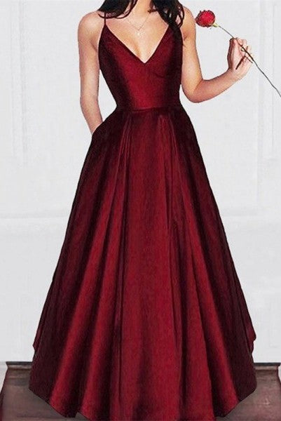 Vintage Burgundy V neck Long A-line Spaghetti Straps Prom Dress Simple Occasion Dress,GDC1339
