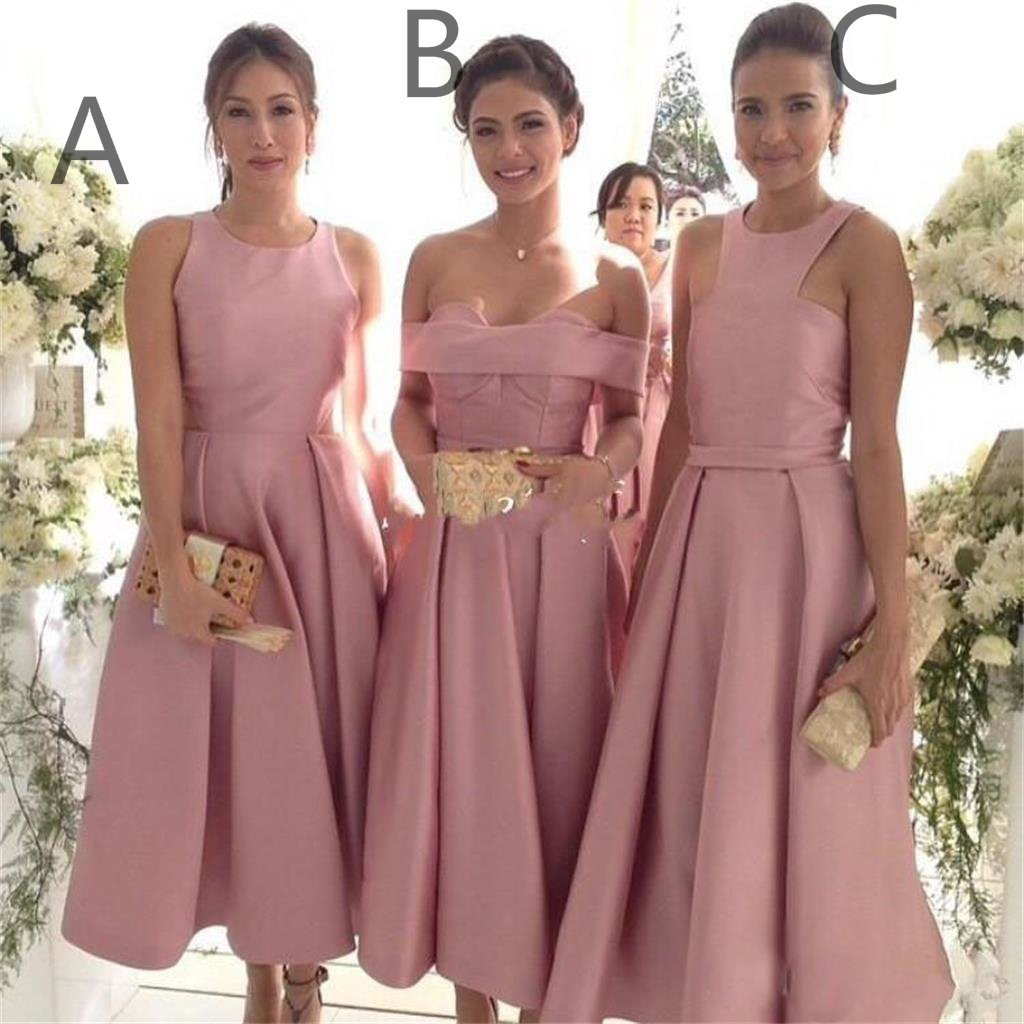Vintage Dusty Pink Mismatched Tea Midi Length Bridesmaid Dresses, Bridesmaid Dresses Fall,7111802