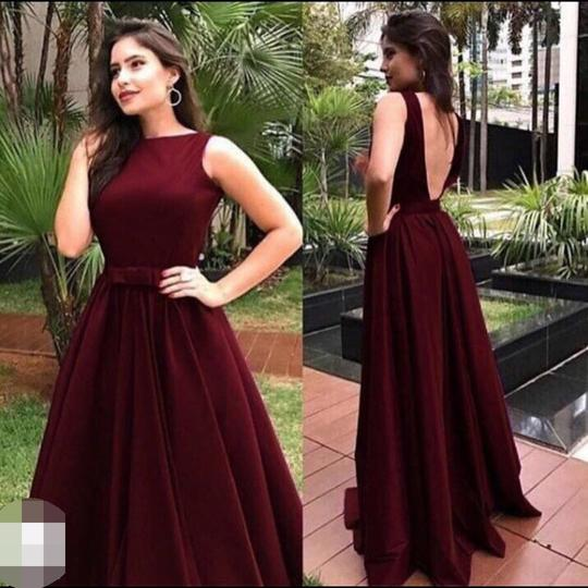 Vintage Maroon Low Back A line Simple High Neck Prom Dress,GDC1206