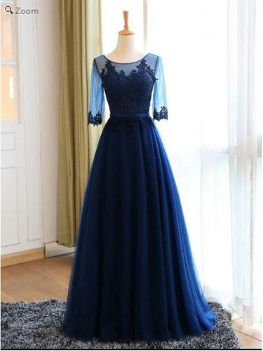 Vintage Navy Jewel Neck Modest Blue Long Sleeves Prom Dress,GDC1143