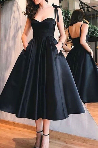 Vintage inspired Tea Length Black 50s Prom Dress with Pockets, 50s style Bridesmaid Dress,081619