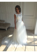 Lace Top Wedding Dress Princess High Neck Wedding Dress with Tulle Skirt,WD004-Dolly Gown