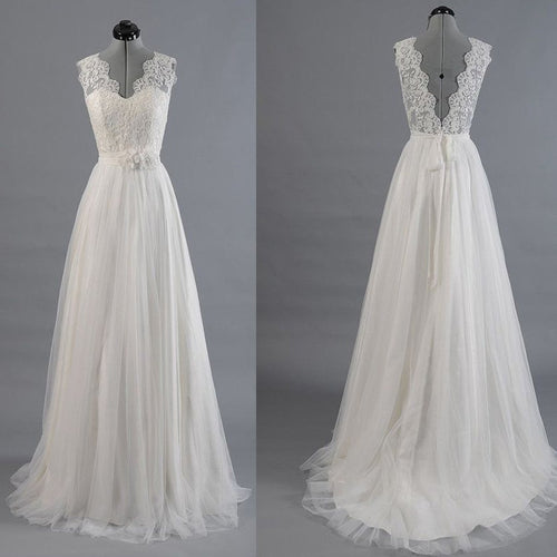 A line Wedding Dess,Romantic Wedding Dress,Lace Top Wedding Dress,WD009