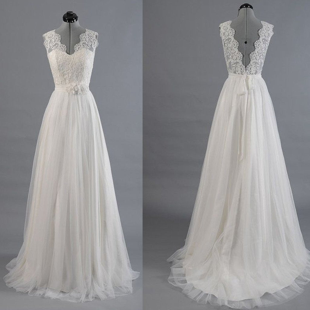 A line Wedding Dess,Romantic Wedding Dress,