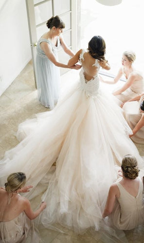 Princess Backless Sexy Tulle Wedding Dress,WS016
