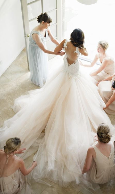 Backless Wedding Dress,Sexy Wedding Dress,Romantic Wedding Dress,Tulle Wedding Dress,WS016