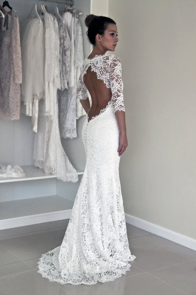Wedding Dress with Sleeves,Lace Wedding Dress,Wedding Dress Lace,Open Back Wedding Dress,WS023