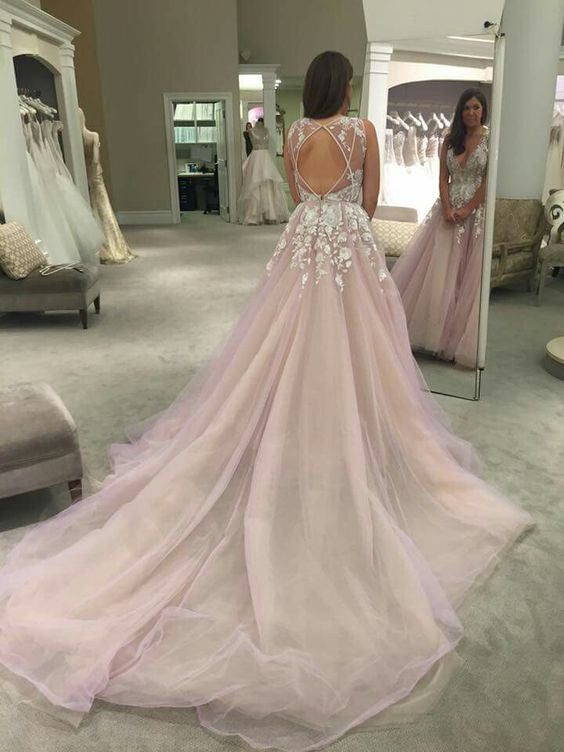 Tulle Princess Wedding Dress Open Back Romantic Wedding Dress Long Train Wedding Dress WS026