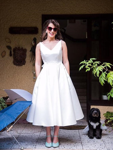 50s Wedding Dress,Vintage Wedding Dress,Simple Wedding Dress,Tea Length Wedding Dress,WS029
