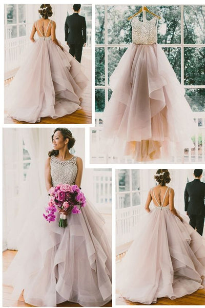 Princess Wedding Dress,Ball Gown Wedding Dress,Romantic Wedding Dress,Backless Wedding Dress,WS034