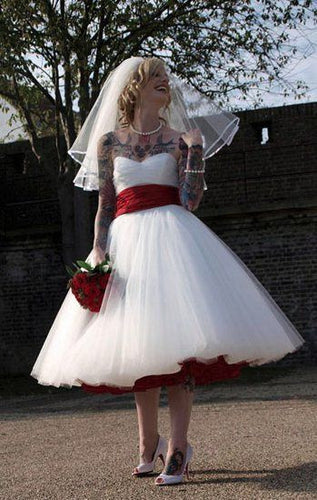 1950s Wedding Dress,Tea Length Wedding Dress,Rockabilly Wedding Dress,Strapless Wedding Dress,Vintage Wedding Dress,WS037