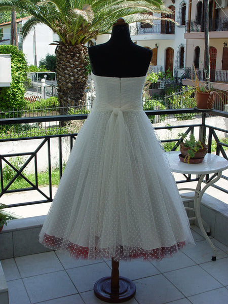 Pin Up Wedding Dress, Polka Dot Wedding Dress, Short Wedding Dress,Retro Wedding Dress,WS039