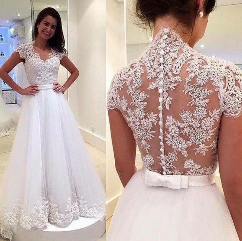 Princess Wedding Dress,Tulle Wedding Dress,Lace Wedding Dress,Elegant Wedding Dress,WS047