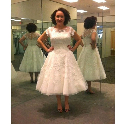 Tea Length Wedding Dress,Retro Wedding Dress,Vintage Wedding Dress,1950s Style Wedding Dress,WS057