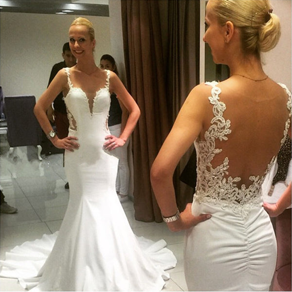 Backless Wedding Dress,Open Back Wedding Dress,Mermaid Wedding Dress,Sexy Wedding Dress,WS058
