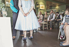Polka Dot Gowns,Tea Length Wedding Dress,Blue Wedding Dress,Wedding Dress with Sleeves,WS060-Dolly Gown