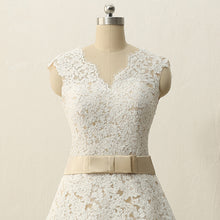 Champagne Tea Length Wedding Dress Tea Length Bridal Gown 50s Style Wedding Dress,WS068-Dolly Gown