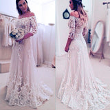 Off Shoulder Wedding Dress,Lace Wedding Dress,Vintage Wedding Dress,WS071