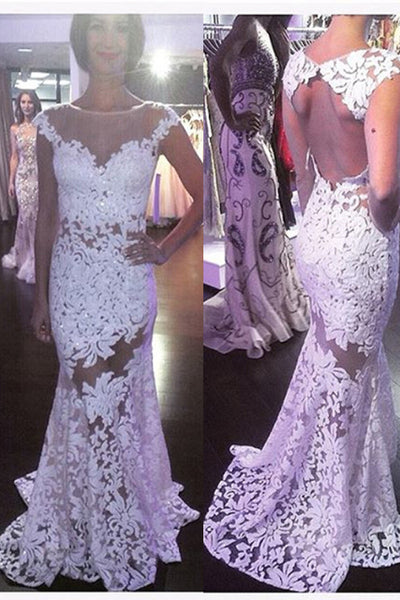 Lace Wedding Dress, See Through Wedding Dress,Mermaid Wedding Dress,Cap Sleeves Wedding Dress,WS071