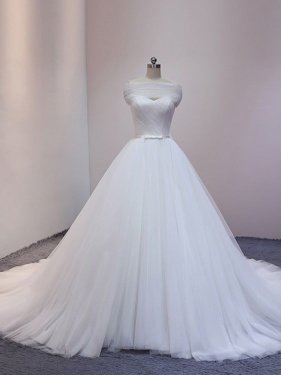 White Princess Tulle Ball Gown Cathedral Train Wedding Dress with Off Shoulder Draping #21011210