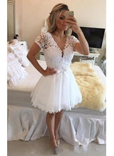 White Sparkly Lace Sleeved Short 8th Grade Formal Dress,Graduation Prom Dress,20081629