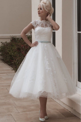 White Tea Length Lace Retro Wedding Dress, Polka Dot Tea Length Wedding Dress,200802022