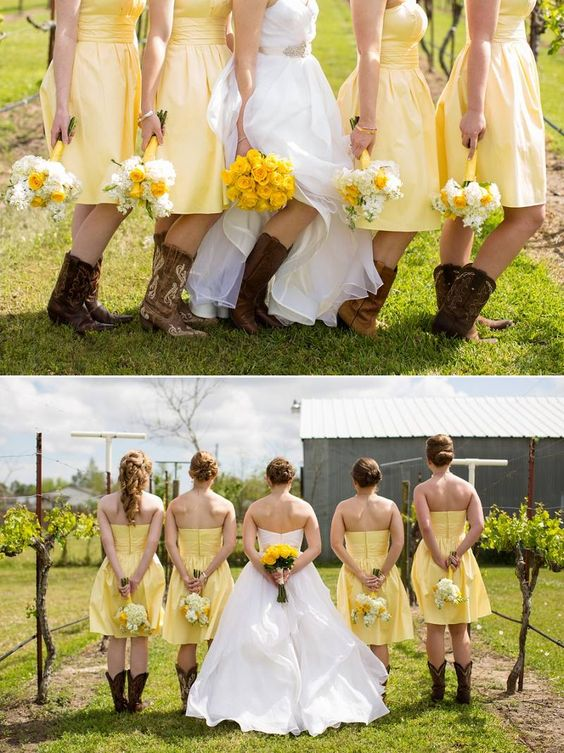 Yellow Country Style Short Strapless Bridesmaid Dresses with Boots,20081827