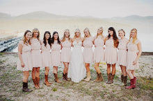 Jewel Neck Blush Pink Short Rustic Country Bridesmaid Dresses with Cowboy Boots,GDC1502