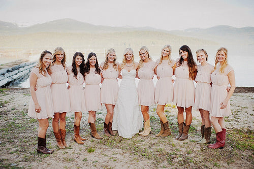 Fall Bridesmaid Dresses with Cowboy Boots