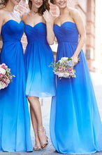 Blue Bridesmaid Dresses,Mismatch Bridesmaid Dresses,Robe De Demoiselle D'Honneur Bleu,Ombre Chiffon Bridesmaid Dresses,Fs017