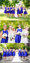 Bateau Neck Royal Blue Short Knee Length Bridesmaid dresses with Low back,FS022