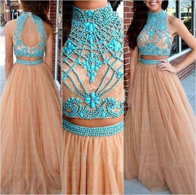 2019 Nude Long Two Piece Tulle Prom Dress with Turquoise Beading For Teens,MA068