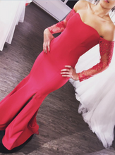 Lace Red Prom Dress Long Sleeve Mermaid Tight Prom Dress with Slit Prom Dress Black Girl Slays 20081625-Dolly Gown
